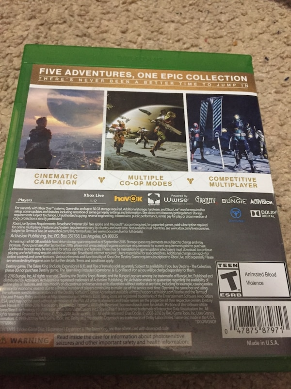 Destiny the collection Xbox one edition