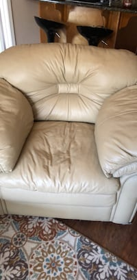 brown leather sofa chair with ottoman Linwood, 08221