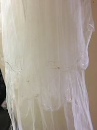 Two tier ivory veil with rhinestones