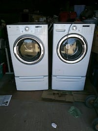 two white front-load clothes washer and dryer set Sunland Park, 88063