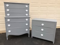 Set of 2 Solid Wood Dressers Gray With White Handles  Manassas, 20112