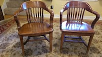 Classic solid wood office chairs.  Set of 4.