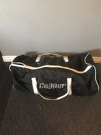 black and white Cooper duffel bag
