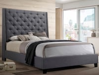 Tall Grey Upholstered Bed w/ Nailhead in Queen and King!