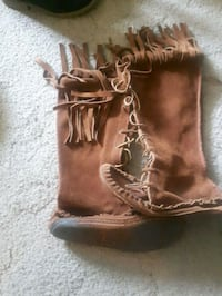 brown leather fringe knee-high boots London, N6J 1S8