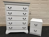 White 5 Drawer Tallboy Dresser With Nightstand  Manassas, 20112