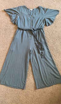Button Down Olive Green Jumpsuit