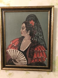 Spanish Lady with Fan Needlepoint  MONTREAL