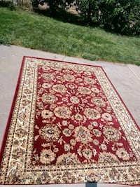 red and white floral area rug Tracy