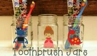 Hand layed vinyl personalized toothbrush jar