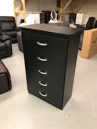 Brand new black 5 drawer chest warehouse sale