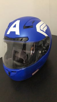 blue and black full-face helmet 34 mi