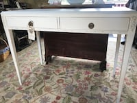 """White Console Table with floral embellishments. Solid wood table perfect for hall or entryway.  Hand painted with chalk paint and sealed for durability. Measures 40"""" long, 29""""high, 30"""" deep. Mirror to match for 75.00! Wake Forest, 27587"""