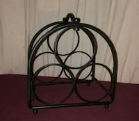 black metal wine bottle rack