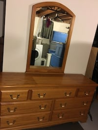 Solid oak dresser with matching nightstand