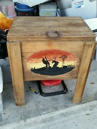 brown wooden ice chest