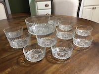French Arcoroc Glass Serving Bowl and Salad/Dessert Bowls Washington