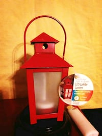New Small Red LED Candle Lantern