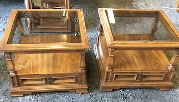 Two Glass Top End Tables