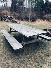 Large rustic picnic table solid wood