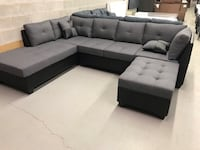 Brand new large grey fabric sectional sofa with storage ottoman on sale  多伦多