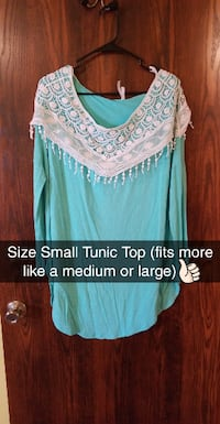 TEAL TUNIC TOP WITH LACE SHOULDERS Kaukauna
