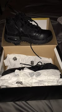 Black leather steel toe work boots with box
