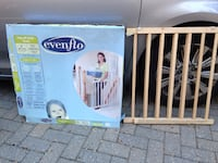 brown wooden Evenflo safety gate with box London, N6C 3S4
