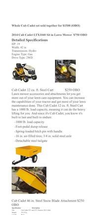 Rideable lawn mower with several attachments. Various tools  including chainsaws for big yard work Woodbridge, 22193
