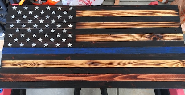 Support Blue Rustic Wooden American Flag