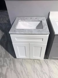 "24"" Bathroom vanity single sink solid wood cabinet  Carrara marble top Fairfax"