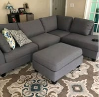 Brand New Grey Linen Sectional Sofa +Ottoman  Silver Spring, 20910