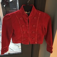 Girls size 7/8 red velvet jacket  Centreville, 20120