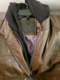 Calvin kline,  lamb lather, chocolate brown hooded jacket