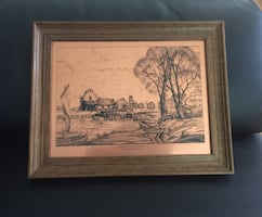 Antique decorative etched copper crafted picture
