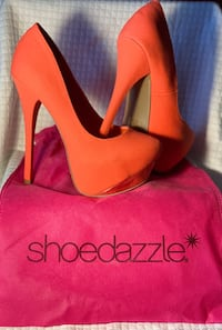 Coral and gold 6in heels