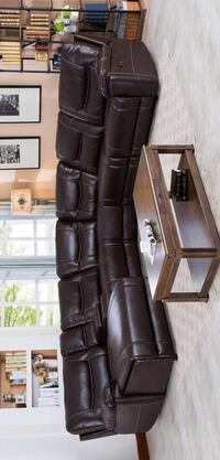 CLEARANCE] Barrington Brown Leather Gel Left Facing Chaise Reclining Sectional | 1023 Houston, 77036