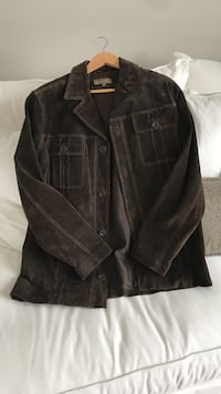 Men's small brown suede jacket.  worn once and grew out of it.  brand new condition.  smoke and pet free