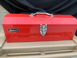 "19"" Red Metal Toolbox w/blk metal tray-NEW"