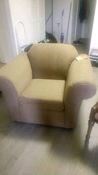 white and brown fabric sofa chair Edmonton, T5K 0Z1