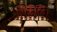 two brown wooden framed white padded chairs Houston, 77049