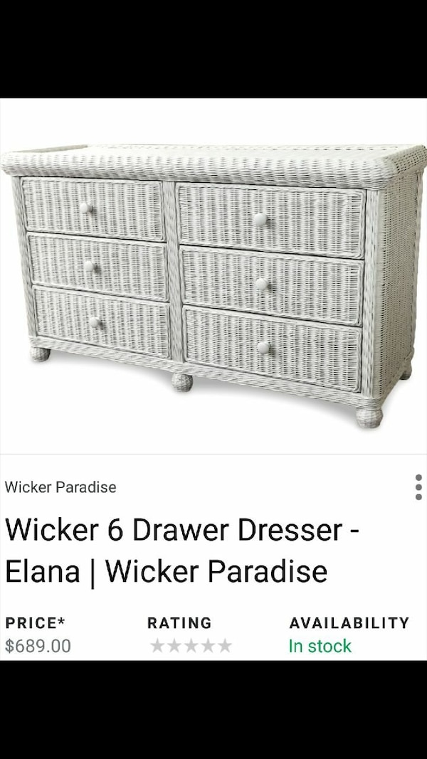6 Drawer White Wicker Dresser