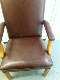 brown wooden framed brown leather padded armchair Arlington, 22204