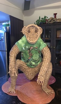 Wicker Monkey wearing Peace T-Shirt (T-shirt is removable) Agoura Hills