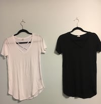 Two v neck t-shirts from garage black size xs and white size s
