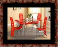 Glass red dining table with leather chairs 52 km