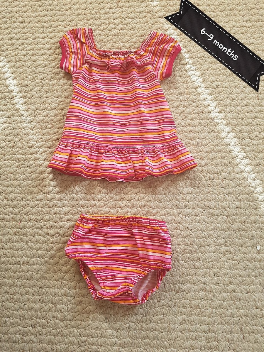 girl's white-pink-and-red striped dress and panty