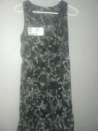black and gray floral sleeveless dress