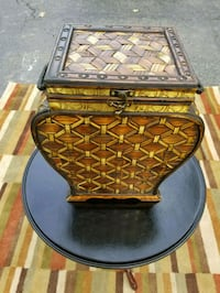 Rattan and Gold Metal Accent Piece Cranberry Township