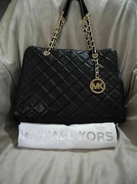 black quilted Michael Kors leather tote bag